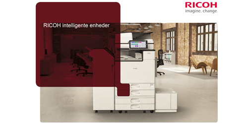 Brochure med Ricohs intelligente multifunktionsprintere